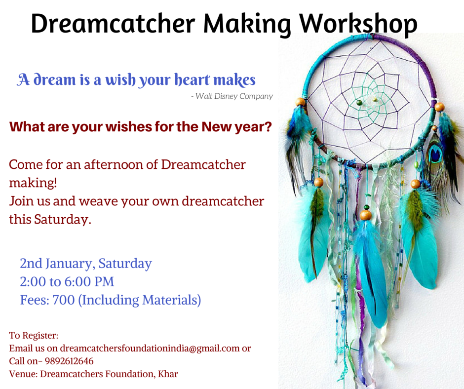 Book Online Tickets for Dreamcatcher Making Workshop, Mumbai. What are your wishes this new New Year?Come weave your dreams this Saturday Afternoon.Start this new year by weaving your own Dreamcatcher.Gift this opportunity to a friend or loved one.We are conducting a Dreamcatcher Making workshop on 2nd Jan