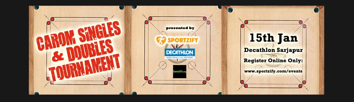 Singles and Doubles Carom tournament at Decathlon Sarjapur.