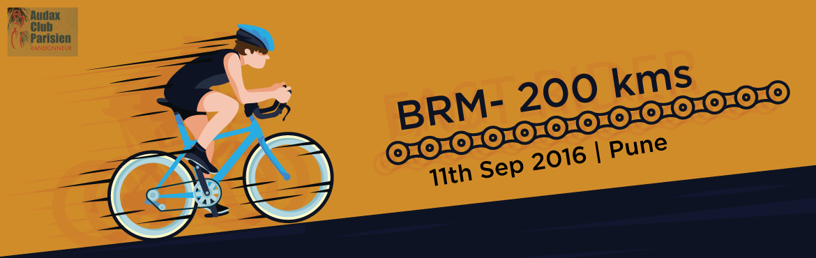 Book Online Tickets for 11th Sept 2016 Pune BRM- 200 kms, Pune. Start Time: 06:00 am  Starting PointPune University  Distance - Time 200 Km – 13.5 Hrs  For further details click the link given below: http://www.audaxindia.org/pune-randonneurs-pune-maharashtra-c-7