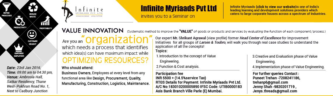 Book Online Tickets for Infinite Myriaads Seminar , Thane.  