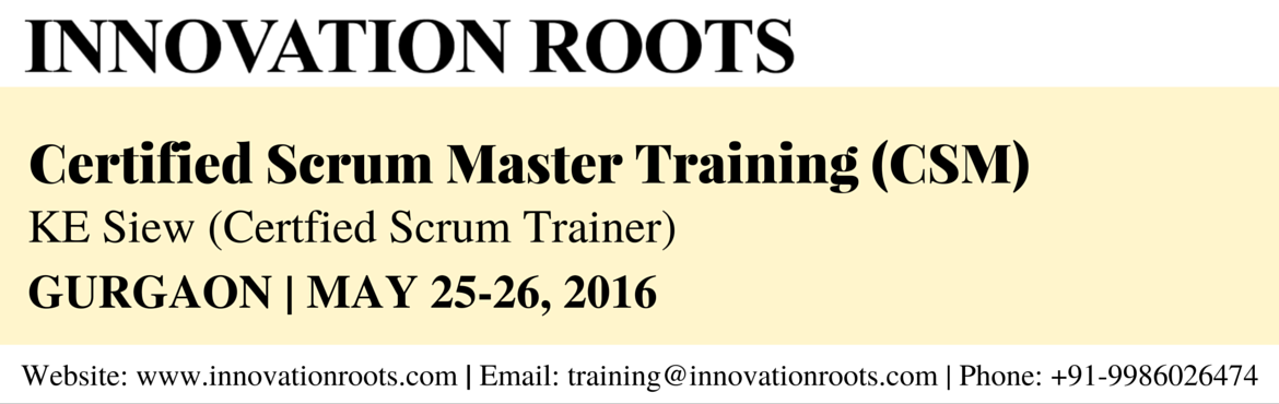 Book Online Tickets for Certified Scrum Master (CSM) Workshop - , Gurugram.  All CSM courses are taught by Certified Scrum Trainers. Taking a CSM course, passing the CSM test, and accepting the license agreement designates youas a Certified ScrumMaster,which indicates that you have beenintroduced to a
