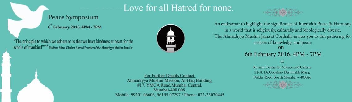 Book Online Tickets for Peace Symposium, Mumbai.                                    &nbsp