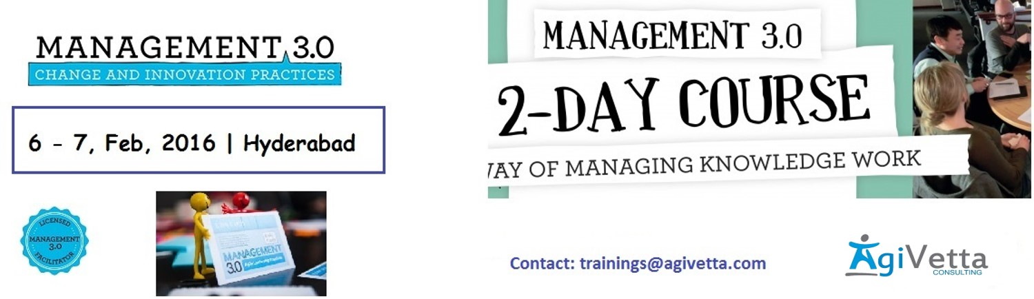 Book Online Tickets for Agile Management 3.0 Workshop; 6-7 Feb. , Hyderabad. Based on Jurgen Appelo's best-selling book, the Agile Management 3.0 training course was given in more than 15 countries. AgiVetta Consulting is proud to offer this course in India.    Agile Management 3.0 started out as a book o