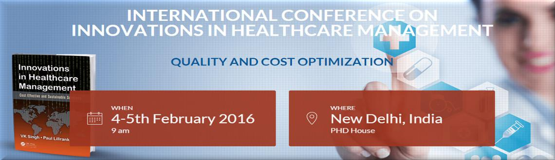 Book Online Tickets for International Conference on Innovations , NewDelhi. InnoHealth 2016 conference will cover various aspects of Innovation in healthcare delivery by use of technology and tools like lean and evidence based hospital planning and operations.The conference will cover innovations from public health, glo