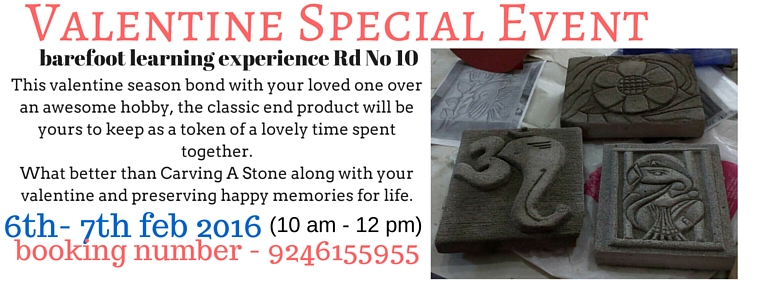 Book Online Tickets for stone carving with your valentine and ch, Hyderabad. Dates : 6th and 7 th February 2016Duration: two days/ two hrs per dayTiminings :10 am to 12 pmEnergy exchange: 1750/- includes all material.