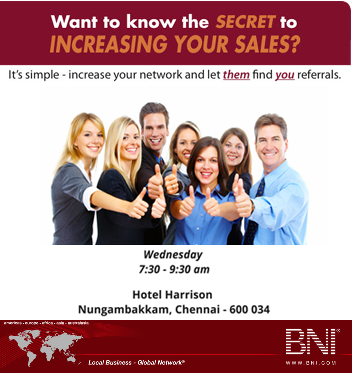 Book Online Tickets for BNI Mega Visitor Day, Chennai.