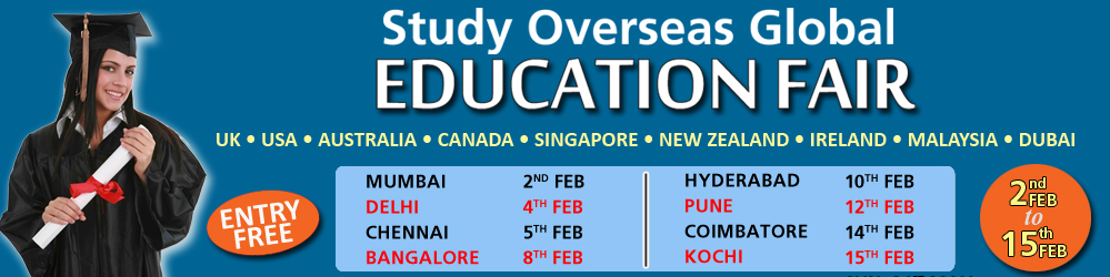 Book Online Tickets for Study Overseas Global Education Fair 201, Mumbai. Study Overseas GLobal is organizing a World Education Fair which is happening on 2nd feb 2016 at The Lalit Hotel Mumbai, India. This Education Fair proposes is to provide higher education to talented students who are willing to pursue in World Top Un