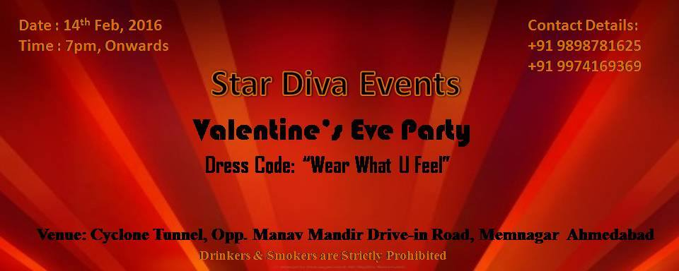 Book Online Tickets for Valentines Eve Party, Ahmedabad. As soon as it gets near to your adored, we wish the finest.And as soon as it approaches to finest, there is zero comparison to an evening full ofdance and dining! A pair that dances as one stays as one.Acquire your bond to a new echelon this Valentin