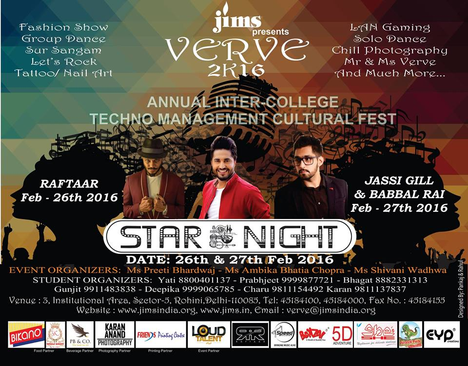 Book Online Tickets for JIMS VERVE 2K16, Annual CULTURAL FEST, NewDelhi.  About The Event