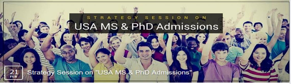 Book Online Tickets for USA MS  PHD ADMISSIONS STRATEGY SESSION, NewDelhi.  Highlights: 1. Experts from the ETS Global, shares insights into the GRE(Graduate Record Examinations) Exam2. Current MS and PhD students share their experience3. Application strategy by Mr. Vineet Gupta, Managing Director, Jamboree India4. Studen