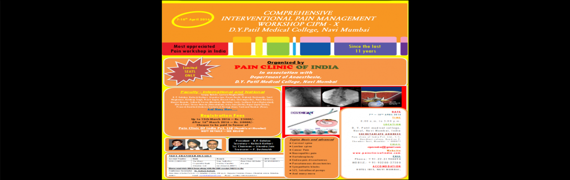 10th Comprehensive Interventional Pain Management Workshop CIPM - X