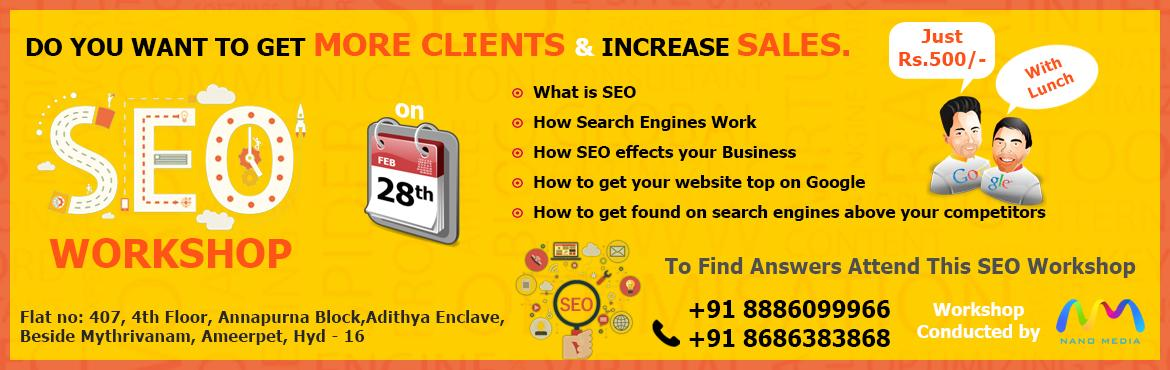 Book Online Tickets for Learn to get your website top on google, Hyderabad. Are you not able to achieve the desired organic traffic? Are your webpages still not on the first page for your desired keywords? Do you believe you have done everything in your power to improve search visibility? Well what if I told you that almost