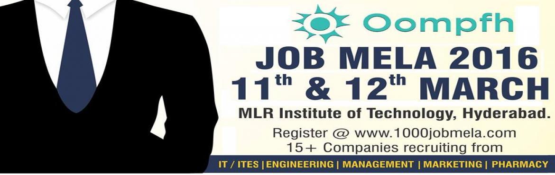 Book Online Tickets for Mega Job Mela-2016, Hyderabad. Mega Job Mela 2016 - (No registration fee)Venue: MLR Institute of TechnologyPackage: Best in marketRegistration:www.1000jobmela.com For 2014/2015/2016 PassoutsInvite your Friends who are in#NeedOfaJobWe are conducting a#JOBMEL