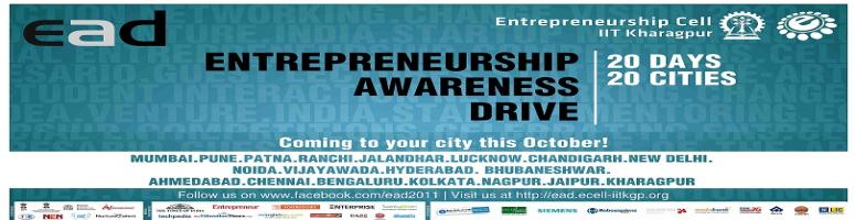 Book Online Tickets for IIT Kharagpur Entrepreneurship workshop , Noida. Entrepreneurship Awareness Drive 2011 is a massive initiative taken by Entrepreneurship Cell, IIT Kharagpur to promote entrepreneurship and encourage students across the country to embrace the concept of entrepreneurship. Covering the length and brea