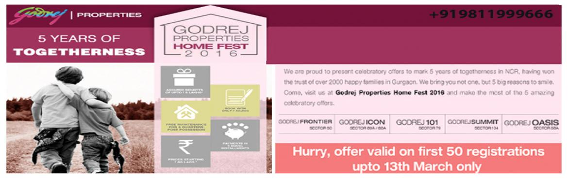 "Book Online Tickets for Godrej Home Fest 2016 , NewDelhi. Recently, Godrej Properties are celebrating its 5 prosperous years in Gurgaon. To celebrate this happiness with their clients they organize an event ""Godrej Home Fest 2016"" from 5th to 13th March 2016. In this Homefest, Godrej Properties"
