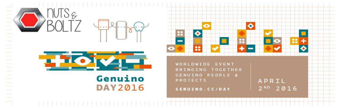 Book Online Tickets for Genuino Day 2016, NewDelhi. We are excited to celebrate the Genuino Day'16 at our Makerspace on Saturday, 2nd April 2016. Genuino Day is a worldwide birthday celebration of Arduino and Genuino. It\'s a 24 hours-long event- organized directly by the community, or by the Ar