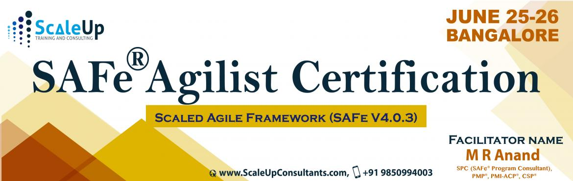 Become SAFe (Scaled Agile Framework) Agilist Certified. Attend 2-days interactive workshop on 16 - 17 April 2016 in Pune. Facilitated by: Anand Murthy