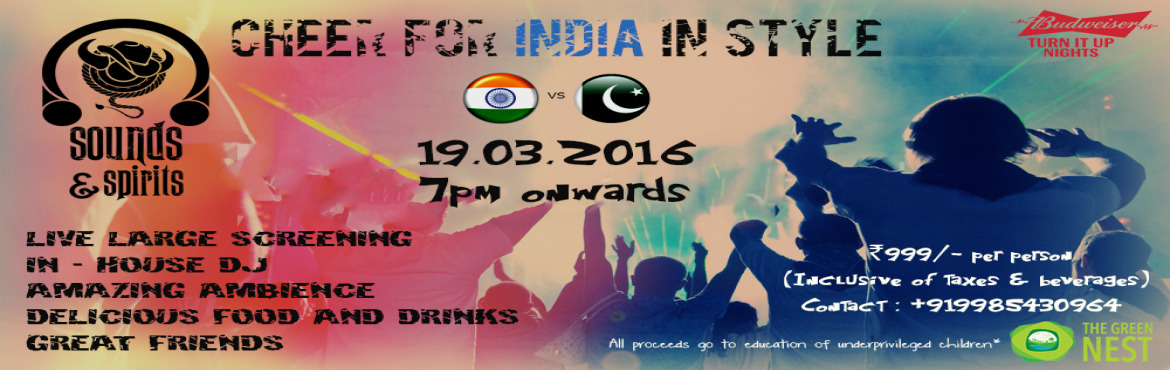Book Online Tickets for Blue Fever, Hyderabad. Want to enjoy the T20 World Cup match between India and Pakisthan without the hassle of going to the stadium? Come to Sounds & Spirits where you can enjoy the nail biting fight between rivals and quench your thirst with Beer / Vodka.