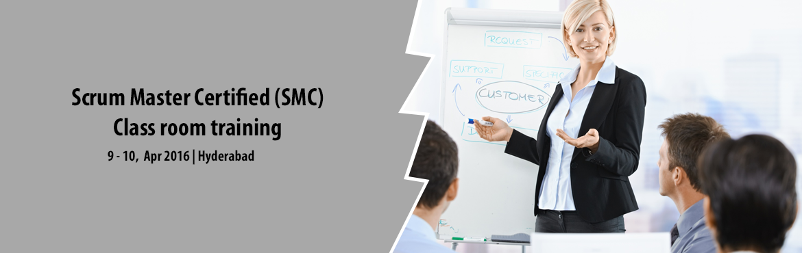 Book Online Tickets for Scrum Master Certified (SMC) - Class roo, Hyderabad. Scrum Master Certified (SMC™) professionals are facilitators who ensure that the Scrum Team is provided with an environment conducive to completing the project successfully. The Scrum Master guides, facilitates, and teaches Scrum practices to e
