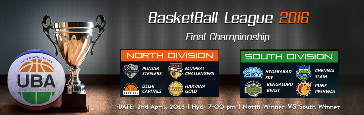 Book Online Tickets for Final UBA Championship North Winner Vs S, Hyderabad. United Basketball Alliance (UBA) Season 2   HYDERABAD, INDIA UBA is India's professional basketball league with teams based in key cities across India. The UBA television team includes Emmy Award winners from the United States and an exper