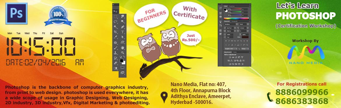 Book Online Tickets for Let's Learn Photoshop, Hyderabad. Are you A  Graphic Designer ? Web Designer ? 2D Animator ? 3D Artist ? Photographer ? Just an hobbist at photoshop ?     Then you should come and join us.....!   Photoshop is the fundamental tool where you can have lot\'s of fun b