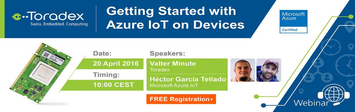 Book Online Tickets for Webinar: Getting Started with Microsoft , Bengaluru. Join the next webinar by Toradex to learn about the different versions of SDK, Operating Systems supported by Toradex, and the development tools and libraries that can be used to build Internet of Things solutions using Toradex's devices as the