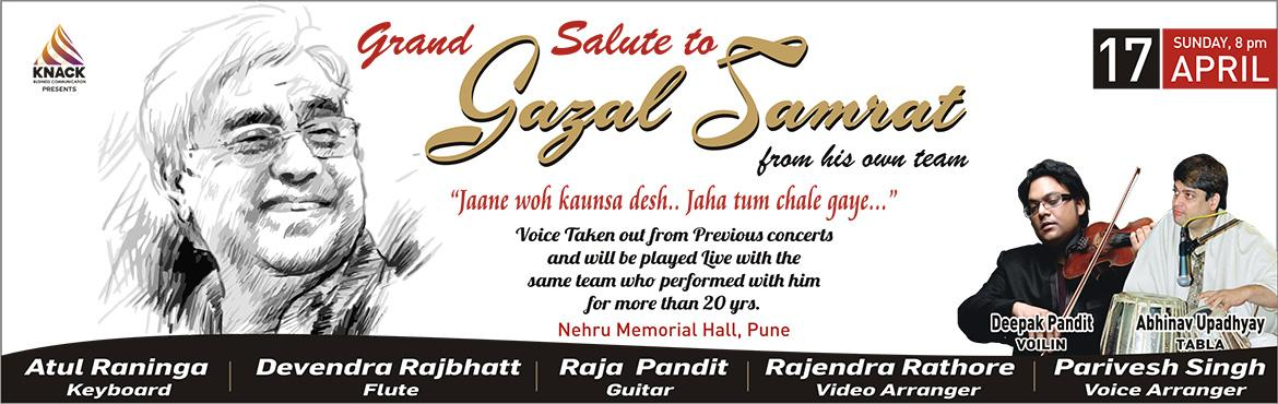 Book Online Tickets for An evening with Ghazal Samrat, Pune. For the first time in the history of Music and live concerts.   In the advent of getting the great voices live, we have presented live concerts of all leading artists in past. Voices are always immortal. Taking it ahead we have taken out Ghazal