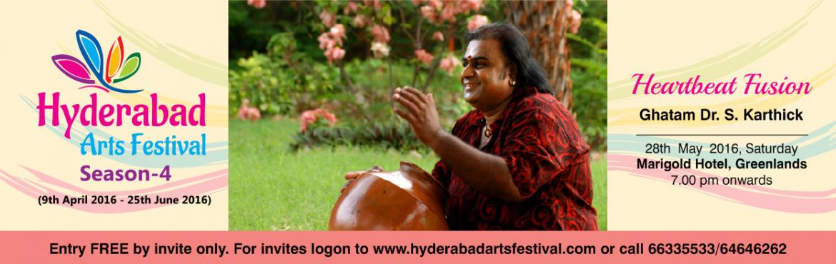 Book Online Tickets for HAF - Fusion Fantasy by Ghatak S Karthic, Hyderabad. Ghatam Dr. S. Karthick - Fusion Fantasy - 28th May 2016 A unique mélange of percussions and rhythm Venue: To Be Announced Witness the magical musicians blending traditional and modern instruments – an ethereal experience for sure. Led by