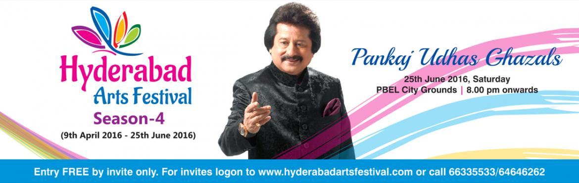 Book Online Tickets for HAF - Pankaj Udhas Live, Hyderabad. Pankaj Udhas Ghazals - 25th June 2016 An evening of Soulful Ghazals with the great maestro Venue: PBEL City Grounds Pankaj Udhas, the name itself sounds so sweet and reminds of a voice that is as sweet as honey. Pankaj Udhas deserves credit for makin