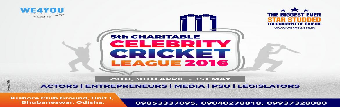 Book Online Tickets for 5th CHARITABLE CELEBRITY CRICKET LEAGUE , BHUBANESWA. THE BEST & BIGGEST EVENT IN oDISHA WHERE MAXIMUM VVIPS ARE GATHERED. the 5th edition of the tournament will be played with Nivia Heavy Tennis Ball.All matches will be of 12 overs.there will be 8 teams.One fimstars team, media team, Ch