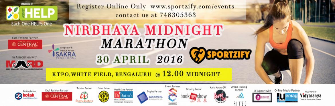 Nirbhaya midnight marathon on 30th April at KTPO white field. Last 5 days to register yourself. Be a part of this epic midnight marathon fever.