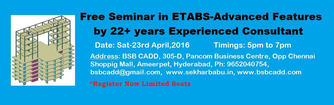 Free Seminar in ETABS-Advanced Features in Hyderabad BSB CADD