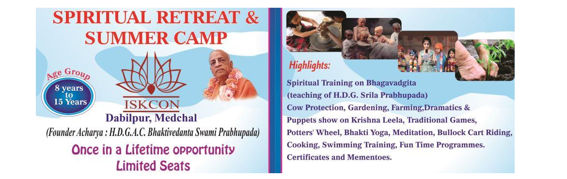Book Online Tickets for Residential Summer Camp and Spiritual Re, Hyderabad. Residential Summer Camp and Spiritual retreat at ISKCON Medchal for Kids of age 8 years to 15 years. For details reach out to the numbers in the pamphlet. Also attached is the registration form for your information. 5 batches of 5 days each, starting