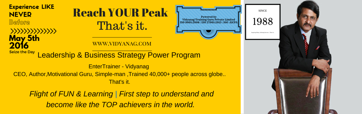 Book Online Tickets for Reach Your Peak - Leadership Program, Bengaluru. Look at the most successful people in business. They are confident and inspiring. They are empowered to achieve their goals and they are enthusiastic about getting the job done - they are engaged in their work and their life. Join us for this special
