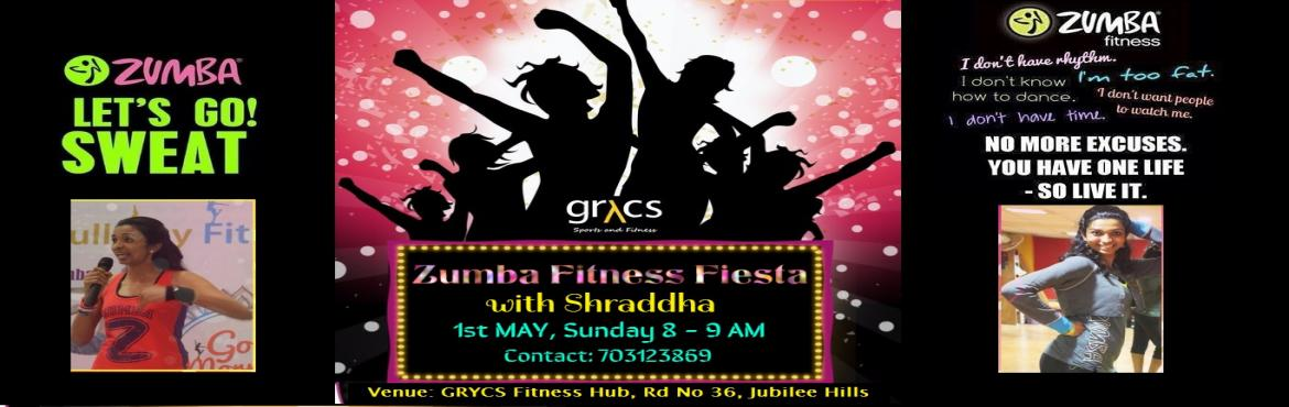 Book Online Tickets for GRYCS Zumba Fitness Fiesta with Shraddha, Hyderabad. EVENT:  Zumba Fitness Fiesta @ GRYCS conducted by ZIN SHRADDHA NARAYANAN Zumba® fitness is a high energy, cardio fitness party! Zumba utilizes dance movements inspired by various world rhythms and incorporates them into a scientifically desi