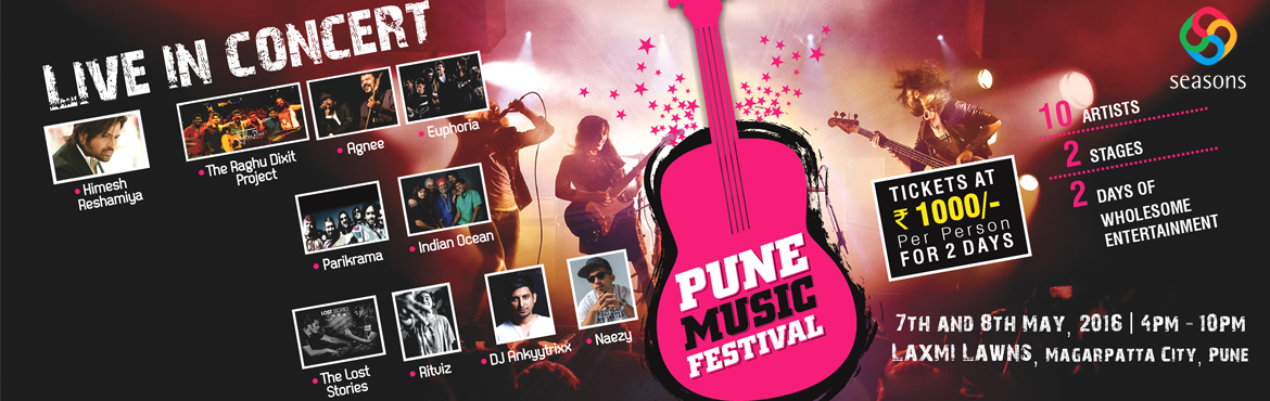 Book Online Tickets for Pune Music Festival, Pune. Pune Music Festival is a music celebration like no other, with a star-studded line-up.Featuring acts like Bollywood music director Himesh Reshamiya, Delhi fusion band Indian Ocean,Pune\'s own rock band Agnee, Bangalore\'s favourite The Raghu Di