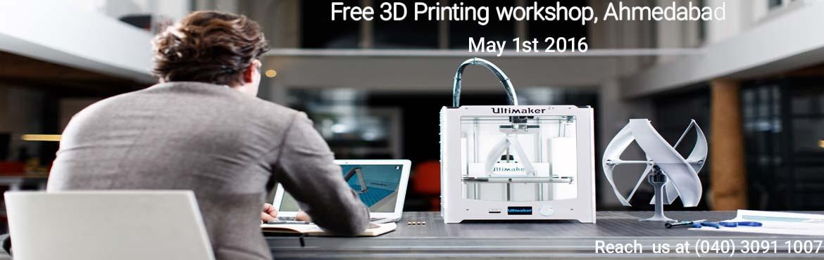 Book Online Tickets for Free 3D Printing Workshop, Ahmedabad , Ahmedabad. think3D is conducting a free 3D printing workshop in Ahmedabad on May 1st,2016. This workshop is intended for all those who are inquisitive of 3D printing technology. This session is intended to provide an overview on the technology and also to