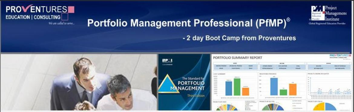 Book Online Tickets for Upcoming PfMP workshop on 24th and 25th , Bengaluru. Why PfMP? PMI's Portfolio Management Professional (PfMP) credential recognizes the advanced experience and skill of portfolio managers. The PfMP demonstrates your proven ability in the coordinated management of one or more portfolios to achieve