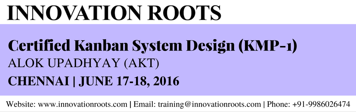 Book Online Tickets for Kanban System Design (KMP - 1) - Chennai, Chennai. Accredited Kanban Foundations This course has been accredited by the Lean Kanban University (LKU). The course is designed to help you understand your current condition, model and visualize it as a Kanban system, understand and measure your current sy