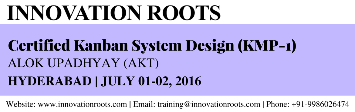 Book Online Tickets for Kanban System Design (KMP - 1) - Hyderab, Hyderabad. Accredited Kanban Foundations This course has been accredited by the Lean Kanban University (LKU). The course is designed to help you understand your current condition, model and visualize it as a Kanban system, understand and measure your current sy