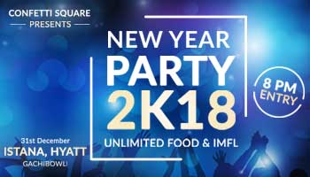 New Year Party 2k18 at Hyatt - Gachibowli, Hyderabad