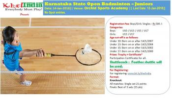 Karnataka State Open Badminton - Juniors