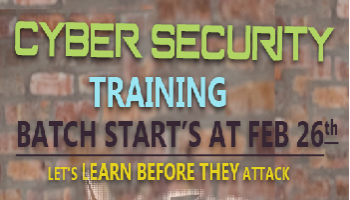 Cyber Security and Ethical Hacking Training New Batch Starts on Feb 26th 2018