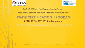PMP Certification Program on 6th Edition from 23rd to 27th April 2018