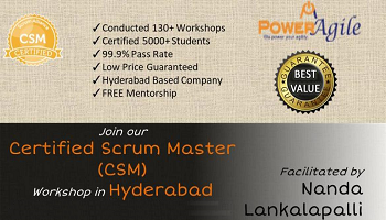 Certified Scrum Master Training  Certification In Hyderabad By PowerAgile on 17-18 November