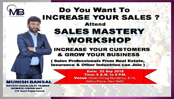 Sales Mastery Workshop  (Early Bird Offer @ Rs. 2000  Till 15th Sep) Use Code-  earlybird  To Get Discount