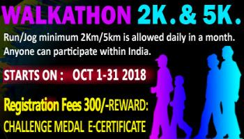 2K/5K Dailly Walkathon Challenge October 1-31 2018