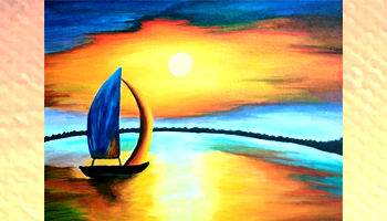 Sailing In The Night Canvas Painting