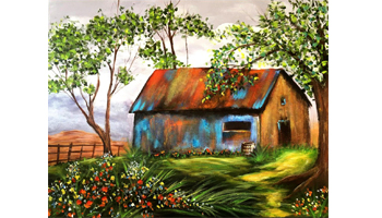 Old Barn Canvas Painting