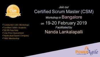 Certified Scrum Master Training Certification In Bangalore By PowerAgile on  19-20 February 2019